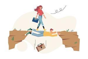 teamwork helpt bij het overwinnen van obstakels om op het doel te richten vector