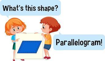 kinderen houden de banner van de parallellogramvorm met wat is dit vormlettertype