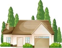 voorkant van een huis met veel boom geïsoleerd op een witte achtergrond