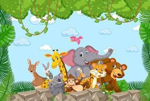 groep wilde dieren in het bosframe