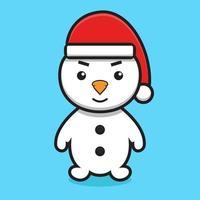 schattig sneeuwpop stripfiguur met kerstman hoed