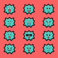 set van schattig virus karakter met verschillende expressie cartoon vector pictogram illustratie