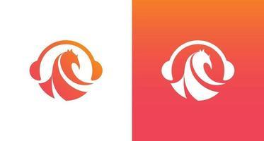 moderne phoenix muziek logo, phoenix en hoofdtelefoon pictogrammen logo vector sjabloon