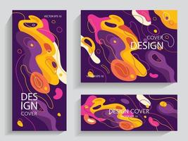 vloeibare abstracte brochures in levendige kleuren