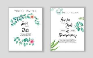 bruiloft bloemen gouden uitnodigingskaart bewaar het datumontwerp met roze bloemen vector
