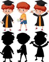 set van een jongen die een afstudeerjurk draagt in verschillende posities met zijn silhouet vector