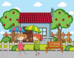 voorkant van het huis scène met een paraplu van de meisjesholding