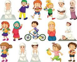 kinderen doen verschillende activiteiten stripfiguur ingesteld op witte achtergrond