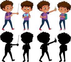 set van een jongen stripfiguur in verschillende posities met zijn silhouet