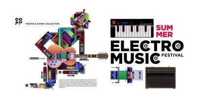 elektronische muziekfestival poster en banner ontwerp vector