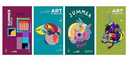 zomer kunst en cultuur tentoonstelling kleurrijk posterontwerp vector
