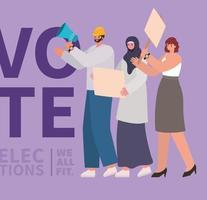 vrouwen en mannenbeeldverhalen met stembanners en megafoon vectorontwerp