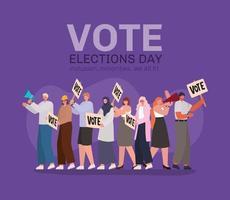 cartoon mensen met stem belettering voor de dag van de verkiezingen