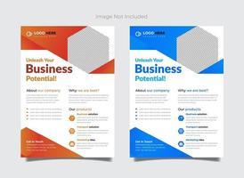 vector blauwe en oranje zakelijke flyer met details over services