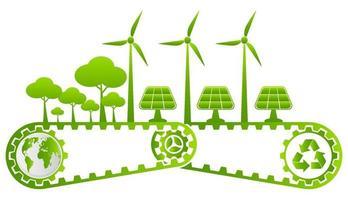 ecologie en milieuconcept, aardesymbool met groene technologie vector