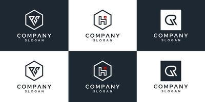 set van creatief monogram logo-ontwerp vector