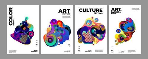 vector kleurrijke abstracte gradiënt vloeistof en vloeistof poster