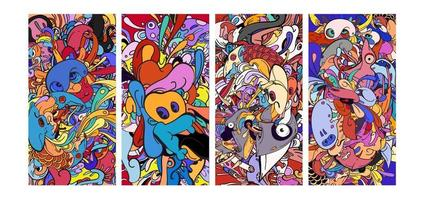vector kleurrijke abstracte cartoon doodle banner als achtergrond