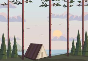 Vector camping landschap illustratie