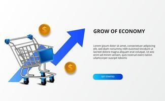 groei economie en markt. illustratie van 3D-trolley en bullish blauwe pijl. online winkelen en e-commerce concept.