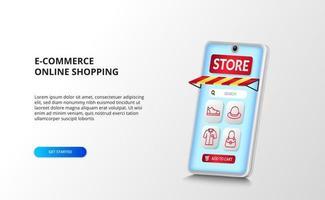 e-commerce en online shopping-app op de smartphone met 3D-perspectief met rode omtrekmodepictogrammen