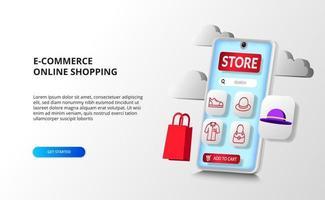 3D-smartphone-perspectief-app voor e-commerce online winkelconcept met mode-overzichtspictogram met 3D-boodschappentas en hoedenproduct.