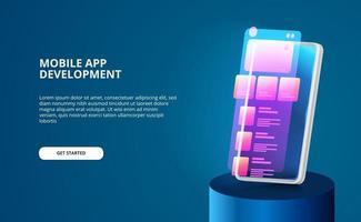 moderne mobiele app-ontwikkeling met scherm ui-ontwerp met neon kleurverloop en 3D-smartphone met gloedscherm vector