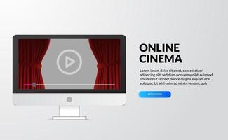 online bioscoop, video en filmstreaming met apparaat thuis concept. computer desktop scherm met rood gordijn podium en pictogram knop afspelen