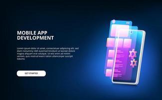 moderne mobiele app-ontwikkeling met scherm ui-ontwerp en versnellingsmachine met neon kleurverloop en 3D-smartphone met gloedscherm vector
