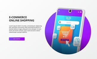 online winkelen klik op kopen op mobiel e-commerce bestemmingspagina concept digitale marketing promotie 3d telefoon illustratie vector