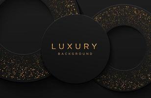 luxe elegante 3D-vorm achtergrond met glinsterende goud gestippelde patroon geïsoleerd op zwart. abstracte realistische papercut achtergrond. elegante sjabloon