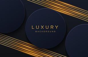luxe elegante achtergrond met glanzend gouden lijnenpatroon geïsoleerd op zwart. abstracte realistische papercut achtergrond. elegante voorbladsjabloon