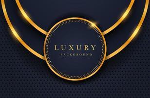luxe elegante achtergrond met glanzend gouden cirkelelement en stippendeeltje op donker zwart metalen oppervlak. lay-out van de bedrijfspresentatie vector