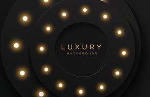 luxe elegante 3D-vorm achtergrond met glanzende gloeilamp samenstelling geïsoleerd op zwart. abstracte realistische papercut achtergrond. elegante sjabloon vector