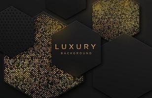 luxe elegante 3D-vorm achtergrond met glinsterende goud gestippelde patroon geïsoleerd op zwart. abstracte realistische zwarte papercut achtergrond. elegante sjabloon vector
