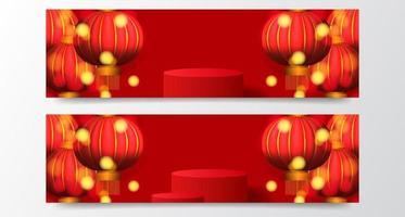 gelukkig chinees nieuwjaar gelukkig fortuin met rode kleur en lantaarnbanners vector