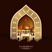 elegante luxe gouden ornament deurpoort met uitzicht op de gouden koepel moskee gebouw. islamitische gebeurtenis heilige vastenmaand ramadan kareem. vector
