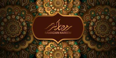 heilige vastenmaand voor moslim mosleem. islamitische gebeurtenis ramadan kareem wenskaart. mooie illustratie van mandala-motiefpatroon met gouden kleur en Arabische kalligrafie vector