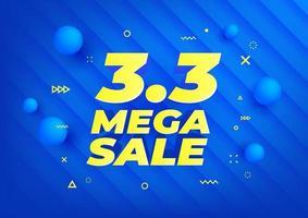 3.3 megaverkoop. winkeldag verkoop poster of flyer ontwerp. 3.3 online verkoop op blauwe achtergrond, speciale aanbiedingen en promotie-sjabloonbanner. vector