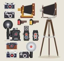 antieke camera plat pictogrammen. vector illustratie.