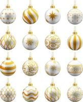witte en gouden kerstballen set. vector illustraties
