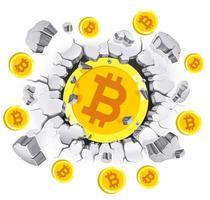 cryptocurrency mining conceptueel ontwerp. bitcoin in oude gipswandschade. vector illustraties.