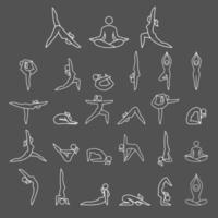 yoga vrouw vormt pictogrammen. vector illustraties.