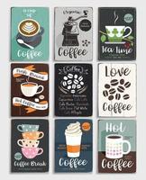 koffie en thee vintage poster set. vector illustratie.