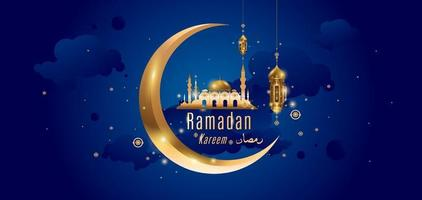 ramadan kareem islamitische gouden moskee wenskaart vector