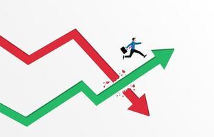 bedrijfsconcept. zakenman die over de groene illustratie van de pijlgrafiek springt. vector