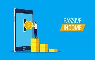 passief inkomen uit online concept. zakenman die geld van smartphone neemt. vector