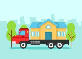 Huis in verhuiswagen vector