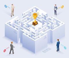 conceptueel ontwerp van zakelijke oplossingen. zakenman die zich bij labyrint vectorillustratie bevindt. vector