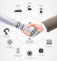 ai robot en zakenman handdruk samen. vector illustratie ontwerp.